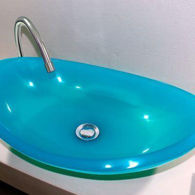 lavamanos modernos hechos a mano grande epoxica Blue Chalcedony