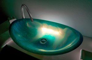 lavamanos modernos hechos a mano grande epoxica fluido azul