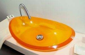 lavamanos modernos hechos a mano grande epoxica ambar naranja