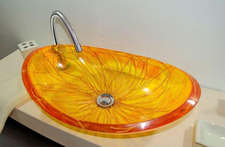 lavamanos modernos hechos a mano grande epoxica ambar sauce