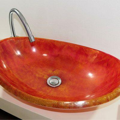 lavamanos modernos hechos a mano grande epoxica yute rojizo