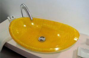 lavamanos modernos hechos a mano modelo grande epoxica yute amarillo