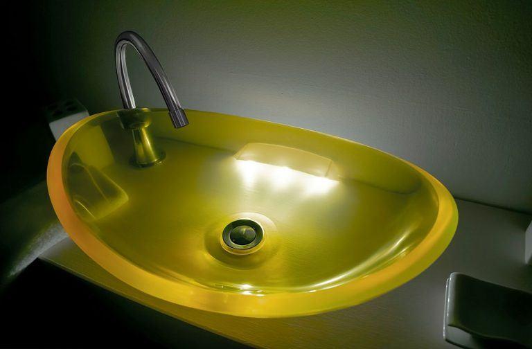 lavamanos modernos hechos a mano modelo uretano optica diamante amarillo