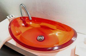 lavamanos modernos hechos a mano modelo uretano optica diamante naranja