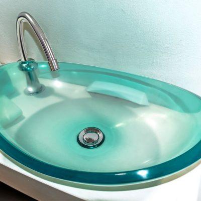 lavamanos modernos hechos a mano modelo uretano optica esmeralda azulada